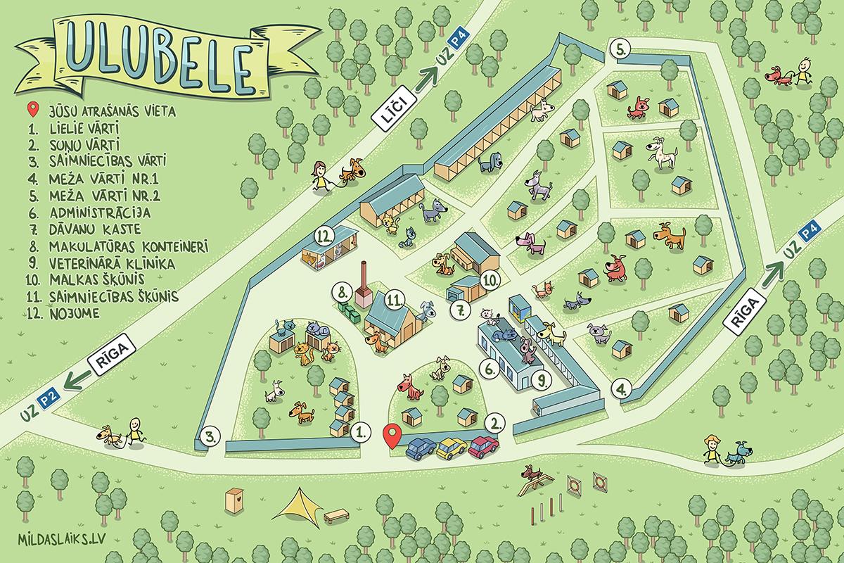 """""""Atbildības parks Ulubele"""" teritoriāla karte"""